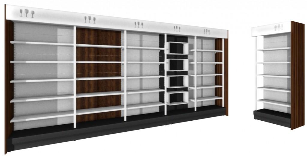 Regał alkoholowy ZEW zpionowym podświetleniem LED półek + panel tematyczny