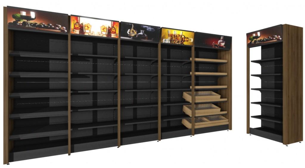 Regał alkoholowy ARA zpionowym podświetleniem LED półek orazgórnym panelem reklamowym