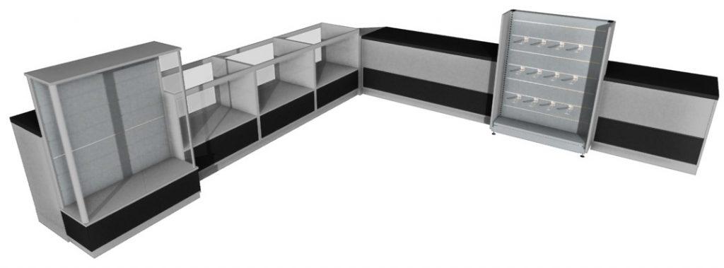 Zestaw lad sklepowych PB oszklonych wraz zgablotą ekspozycyjną orazmodułem space wall