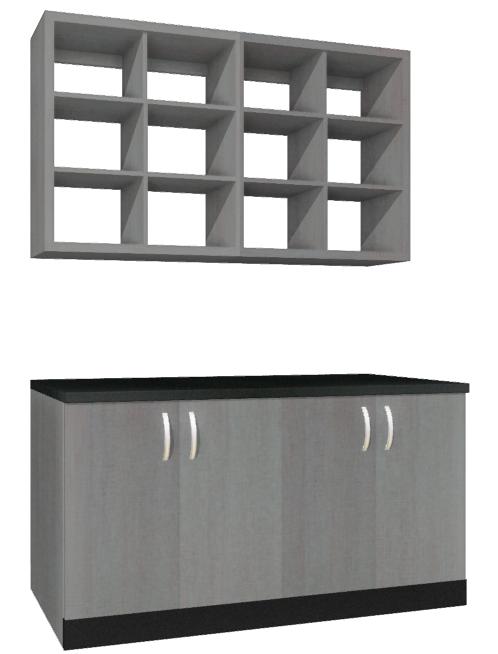 Regał wiszący na przybory oraz szafka robocza z drzwiami